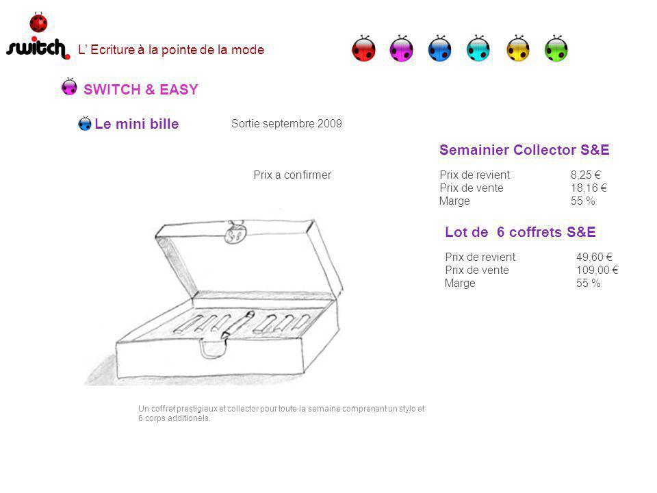 Le mini bille SWITCH & EASY Sortie septembre 2009 Prix a confirmer Un coffret prestigieux et collector pour toute la semaine comprenant un stylo et 6 corps additionels.