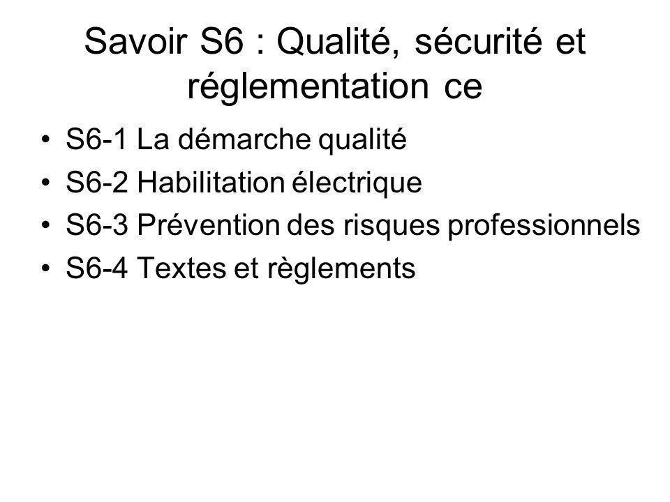 Savoir S6 : Qualité, sécurité et réglementation ce S6-1 La démarche qualité S6-2 Habilitation électrique S6-3 Prévention des risques professionnels S6