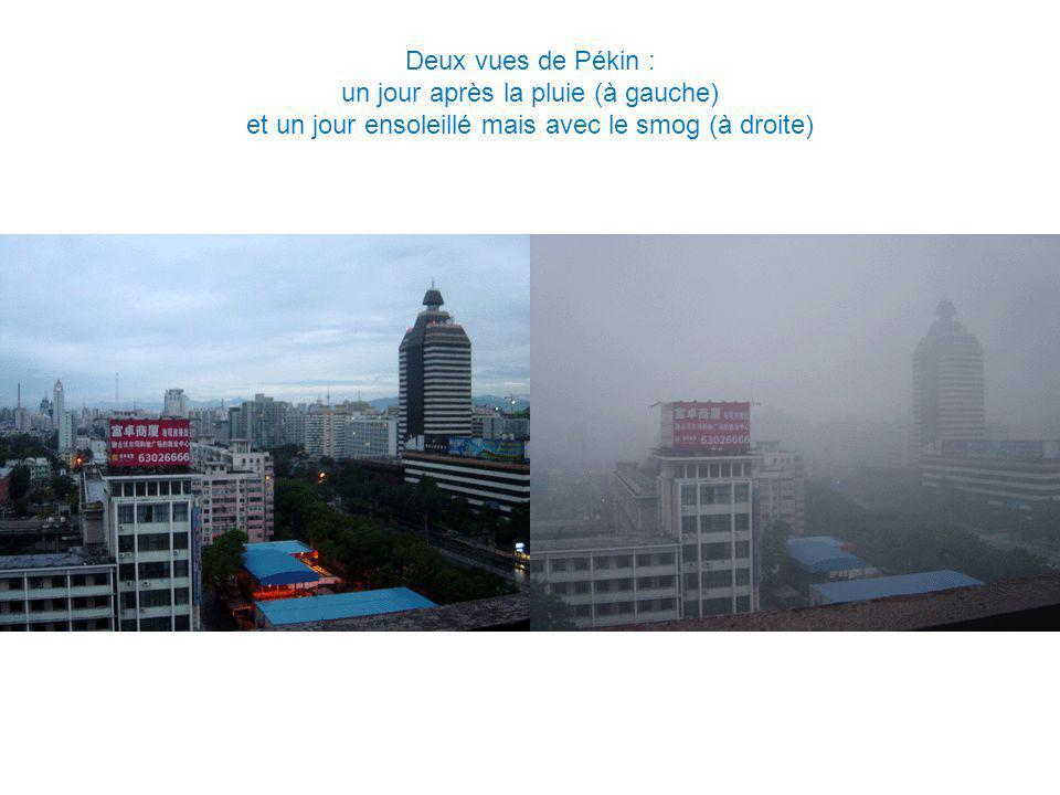 Deux vues de Pékin : un jour après la pluie (à gauche) et un jour ensoleillé mais avec le smog (à droite)
