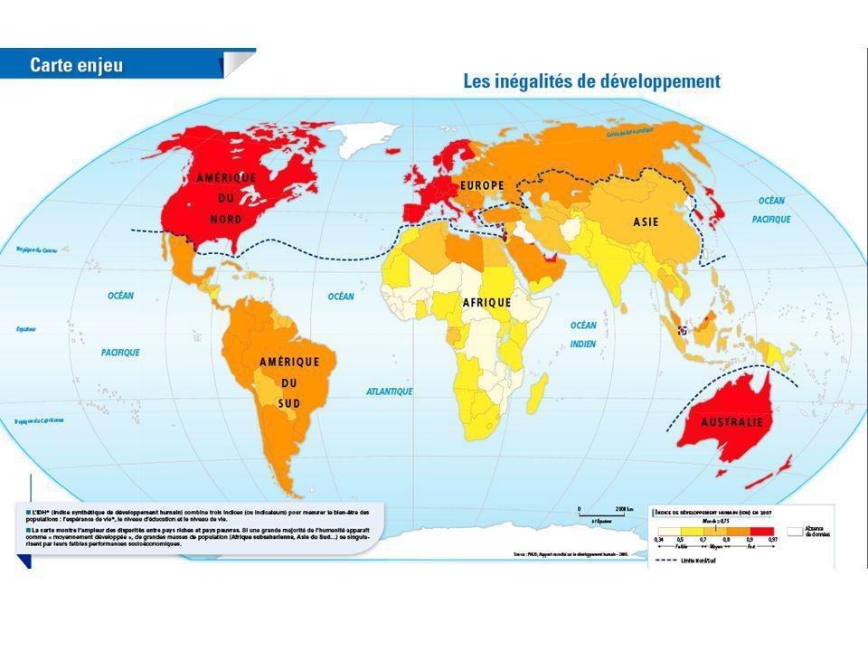 Conclusion : Il existe une opposition entre les pays développés constituant le Nord et les pays en développement formant le Sud.