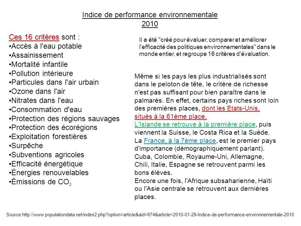 Indice de performance environnementale 2010 Il a été créé pour évaluer, comparer et améliorer l efficacité des politiques environnementales dans le monde entier, et regroupe 16 critères d évaluation.
