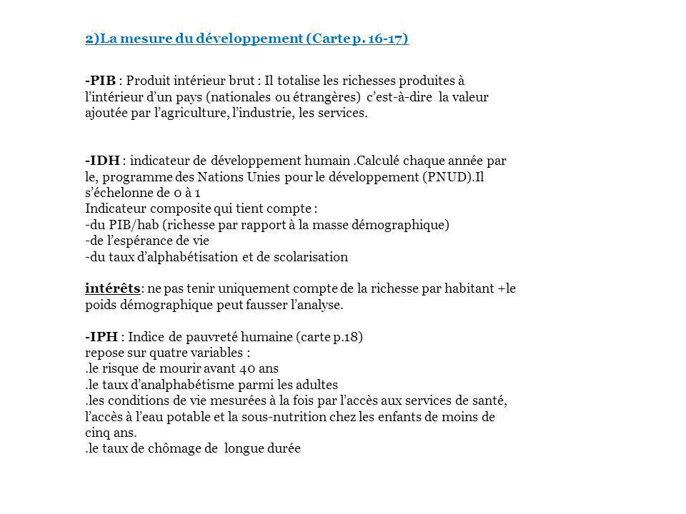 2)La mesure du développement (Carte p.