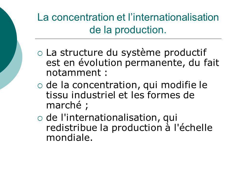 La concentration et linternationalisation de la production. La structure du système productif est en évolution permanente, du fait notamment : de la c