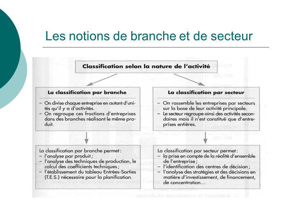 Les notions de branche et de secteur