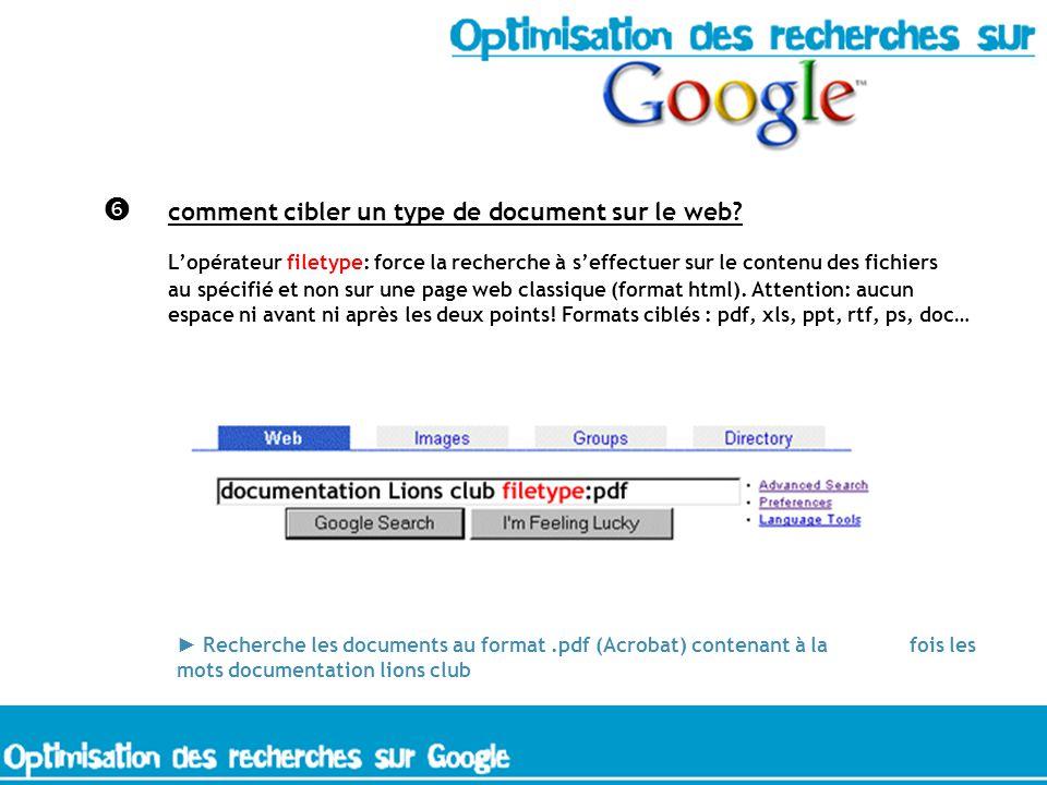 comment cibler un type de document sur le web? Lopérateur filetype: force la recherche à seffectuer sur le contenu des fichiers au spécifié et non sur