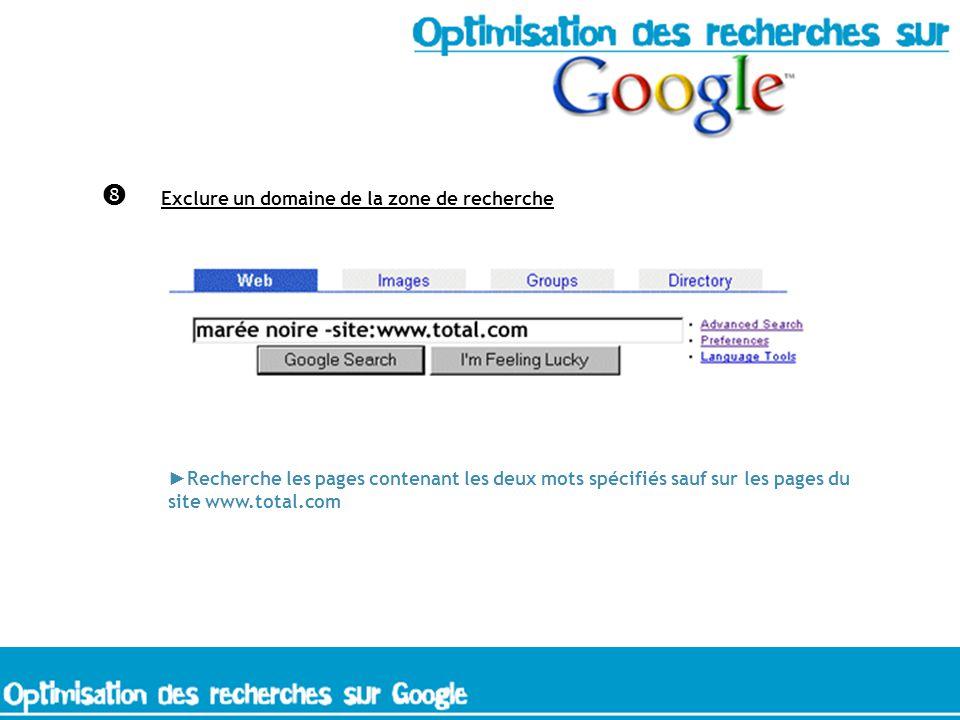 Exclure un domaine de la zone de recherche Recherche les pages contenant les deux mots spécifiés sauf sur les pages du site www.total.com