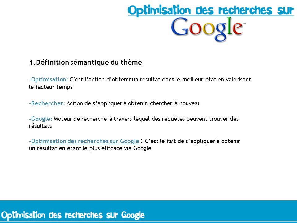 1.Définition sémantique du thème -Optimisation: Cest laction dobtenir un résultat dans le meilleur état en valorisant le facteur temps -Rechercher: Action de sappliquer à obtenir, chercher à nouveau -Google: Moteur de recherche à travers lequel des requêtes peuvent trouver des résultats -Optimisation des recherches sur Google : Cest le fait de sappliquer à obtenir un résultat en étant le plus efficace via Google