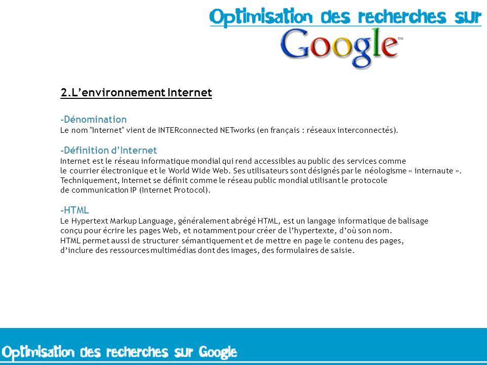 2.Lenvironnement Internet -Dénomination Le nom Internet vient de INTERconnected NETworks (en français : réseaux interconnectés).
