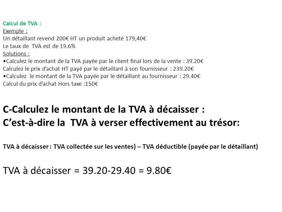 Calcul de TVA : Exemple : Un détaillant revend 200 HT un produit acheté 179,40 Le taux de TVA est de 19.6% Solutions : Calculez le montant de la TVA payée par le client final lors de la vente : 39.20 Calculez le prix dachat HT payé par le détaillant à son fournisseur : 239.20 Calculez le montant de la TVA payée par le détaillant au fournisseur : 29.40 Calcul du prix dachat Hors taxe :150 C-Calculez le montant de la TVA à décaisser : Cest-à-dire la TVA à verser effectivement au trésor: TVA à décaisser : TVA collectée sur les ventes) – TVA déductible (payée par le détaillant) TVA à décaisser = 39.20-29.40 = 9.80