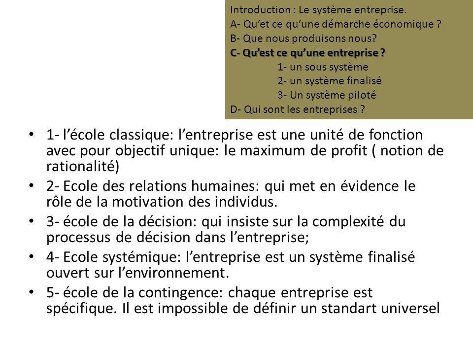 1- lécole classique: lentreprise est une unité de fonction avec pour objectif unique: le maximum de profit ( notion de rationalité) 2- Ecole des relations humaines: qui met en évidence le rôle de la motivation des individus.