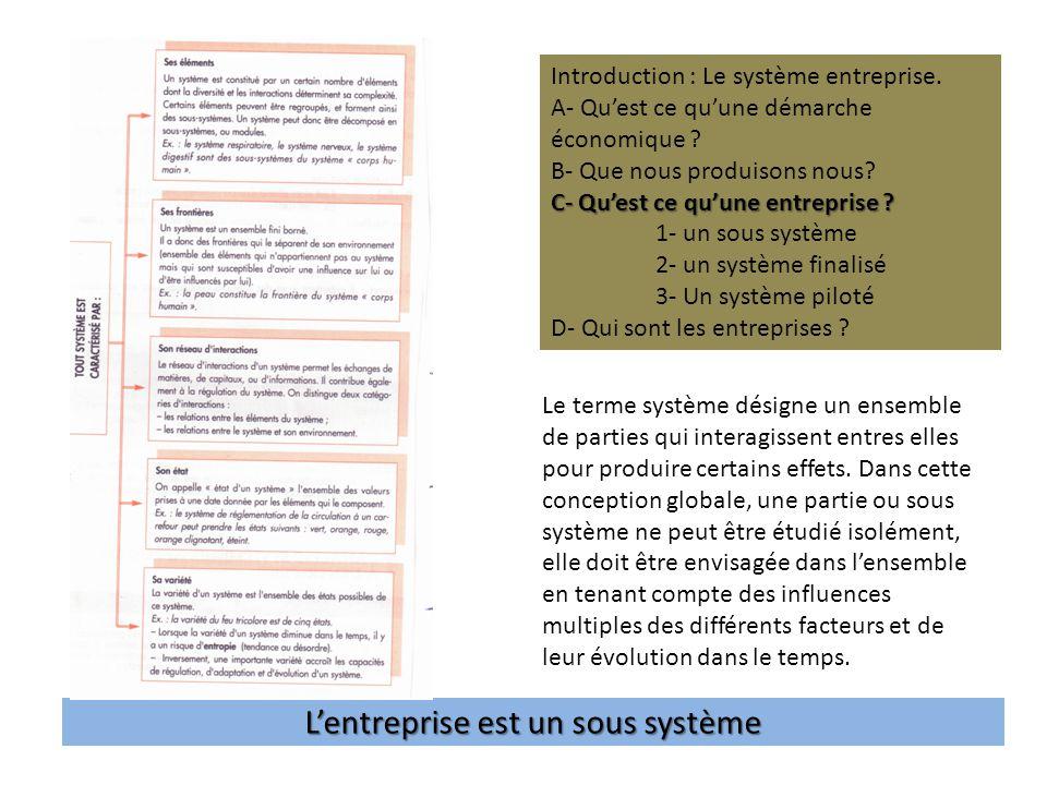 Lentreprise est un sous système Introduction : Le système entreprise.