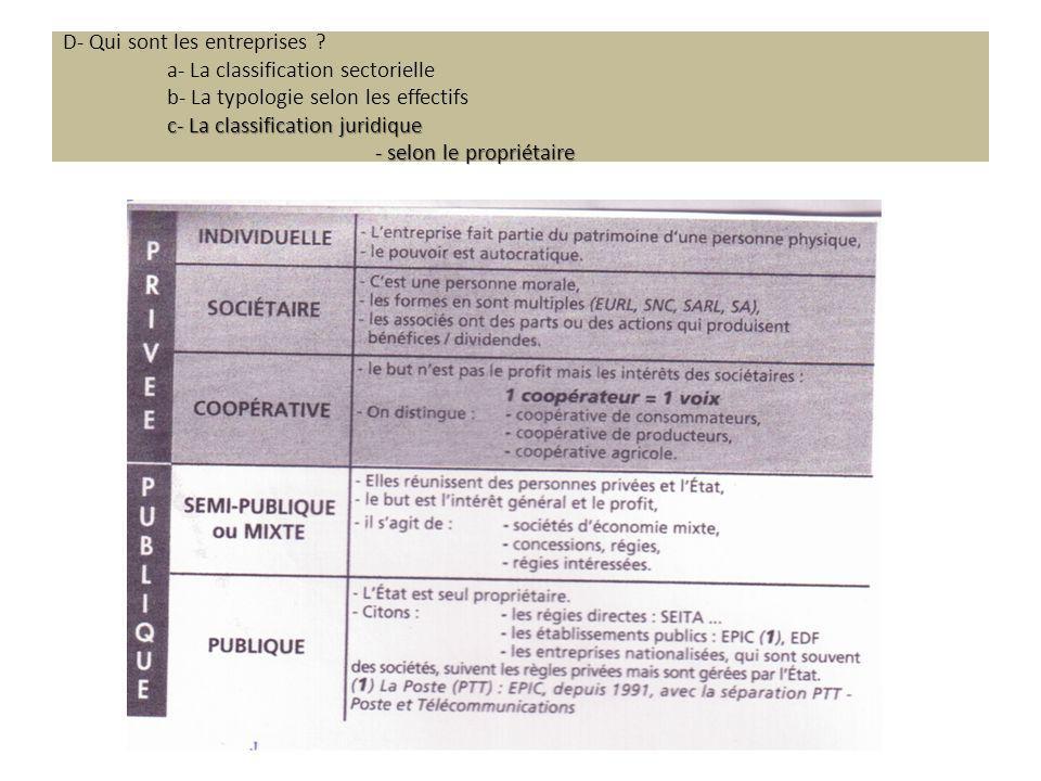 c- La classification juridique - selon le propriétaire D- Qui sont les entreprises .