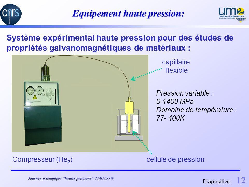 Equipement haute pression: Système expérimental haute pression pour des études de propriétés galvanomagnétiques de matériaux : Compresseur (He 2 )cellule de pression capillaire flexible Pression variable : 0-1400 MPa Domaine de température : 77- 400K Diapositive : 12