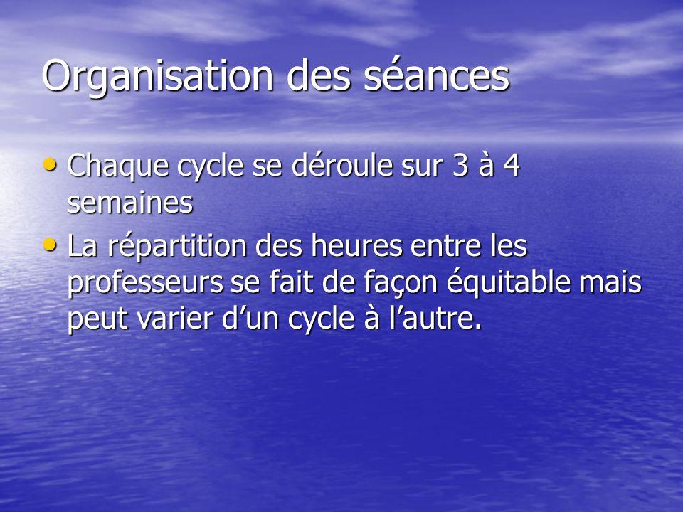 Organisation des séances Chaque cycle se déroule sur 3 à 4 semaines Chaque cycle se déroule sur 3 à 4 semaines La répartition des heures entre les professeurs se fait de façon équitable mais peut varier dun cycle à lautre.
