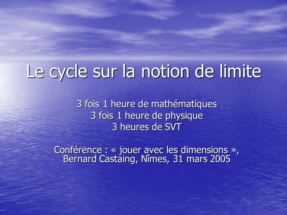 Le cycle sur la notion de limite 3 fois 1 heure de mathématiques 3 fois 1 heure de physique 3 heures de SVT Conférence : « jouer avec les dimensions », Bernard Castaing, Nîmes, 31 mars 2005