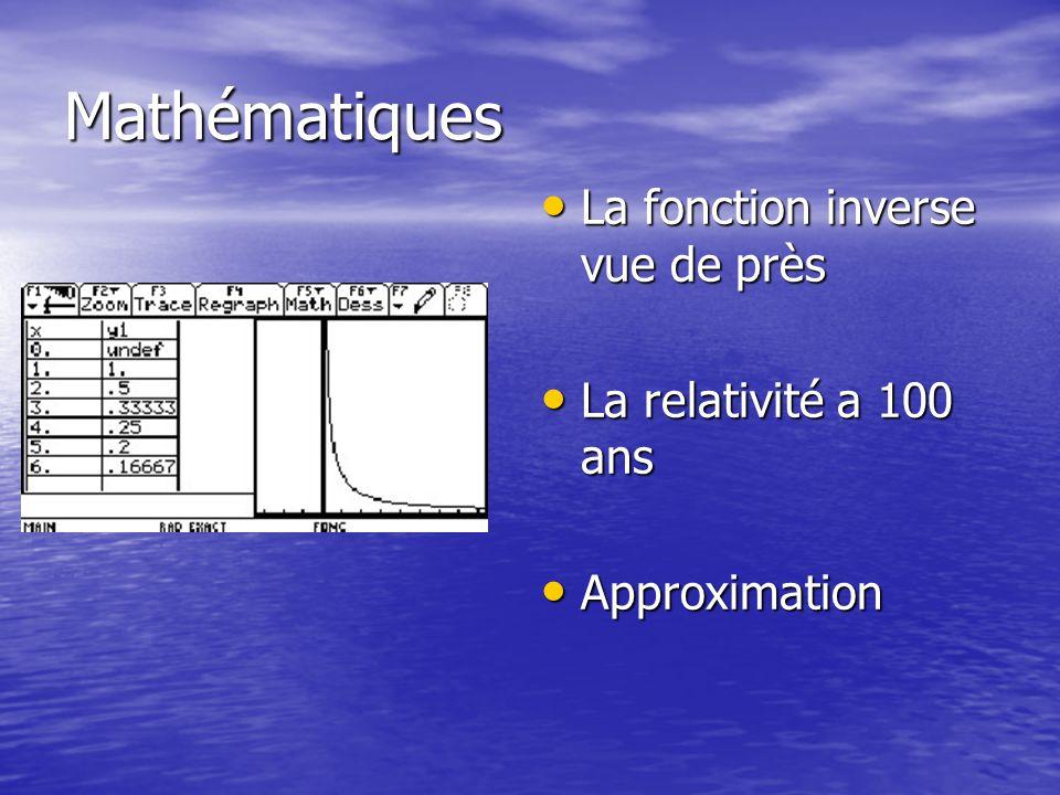Mathématiques La fonction inverse vue de près La fonction inverse vue de près La relativité a 100 ans La relativité a 100 ans Approximation Approximation