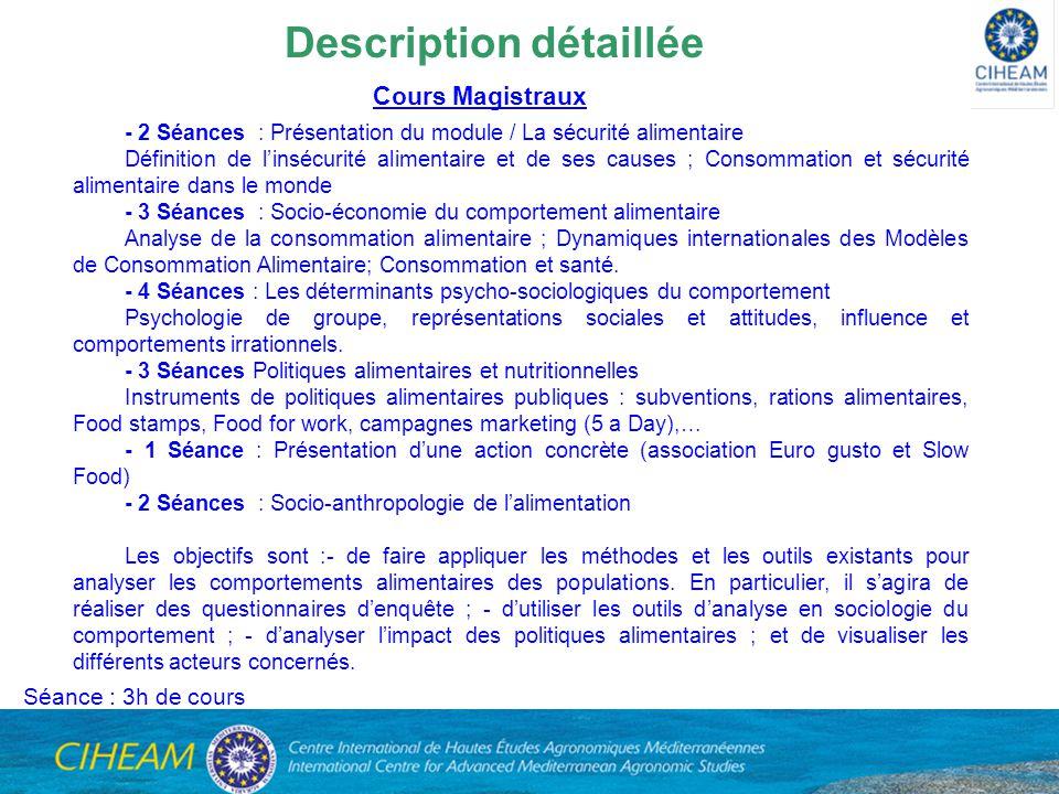 - 2 Séances : Présentation du module / La sécurité alimentaire Définition de linsécurité alimentaire et de ses causes ; Consommation et sécurité alime