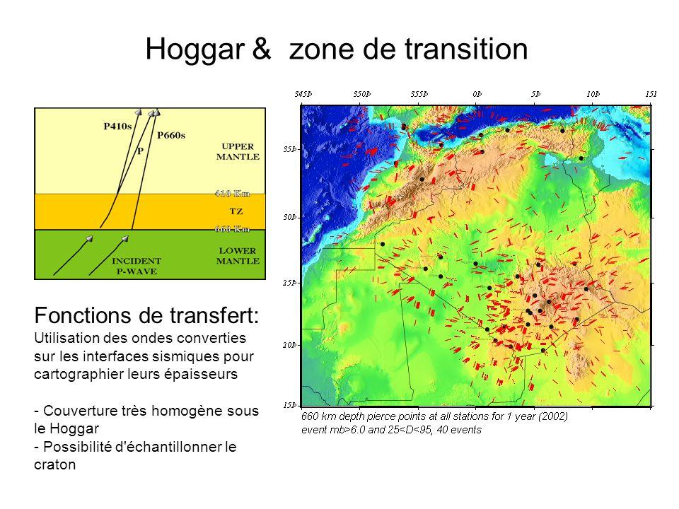 Hoggar & zone de transition Fonctions de transfert: Utilisation des ondes converties sur les interfaces sismiques pour cartographier leurs épaisseurs