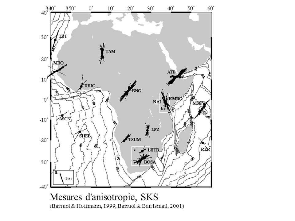 Mesures d'anisotropie, SKS (Barruol & Hoffmann, 1999, Barruol & Ban Ismail, 2001)