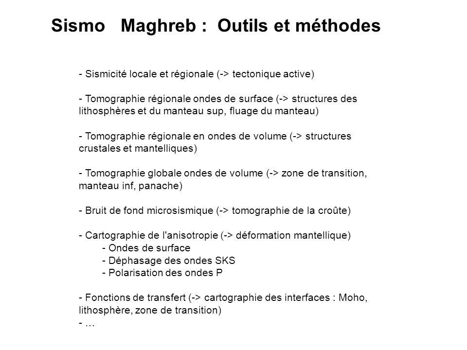 - Sismicité locale et régionale (-> tectonique active) - Tomographie régionale ondes de surface (-> structures des lithosphères et du manteau sup, flu