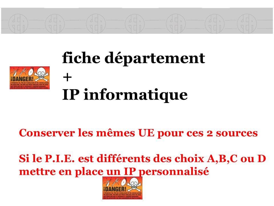 fiche département + IP informatique Conserver les mêmes UE pour ces 2 sources Si le P.I.E. est différents des choix A,B,C ou D mettre en place un IP p