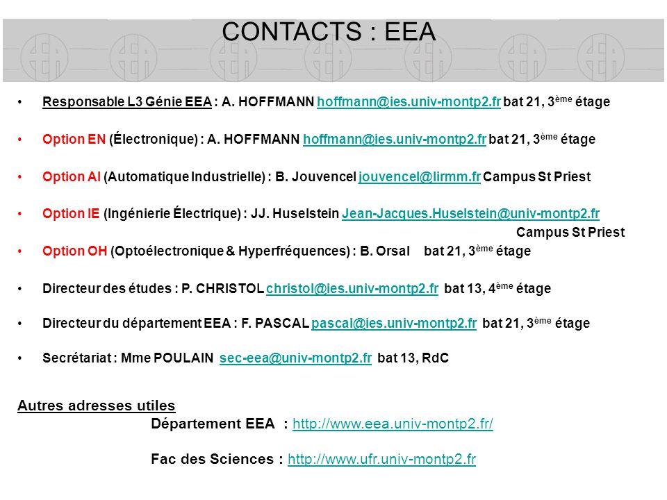 CONTACTS : EEA Responsable L3 Génie EEA : A. HOFFMANN hoffmann@ies.univ-montp2.fr bat 21, 3 ème étagehoffmann@ies.univ-montp2.fr Option EN (Électroniq