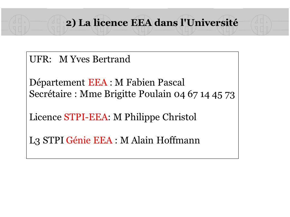 2) La licence EEA dans l'Université UFR: M Yves Bertrand Département EEA : M Fabien Pascal Secrétaire : Mme Brigitte Poulain 04 67 14 45 73 Licence ST