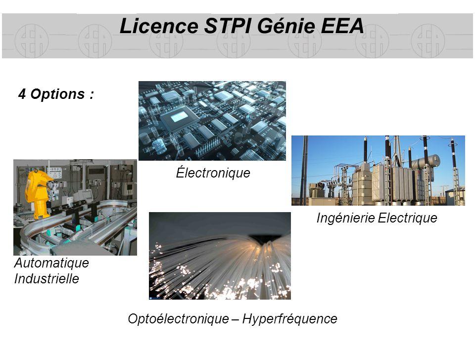 Licence STPI Génie EEA 4 Options : Électronique Ingénierie Electrique Automatique Industrielle Optoélectronique – Hyperfréquence