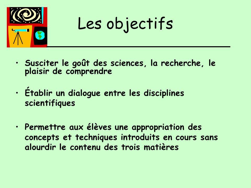 Les objectifs Susciter le goût des sciences, la recherche, le plaisir de comprendre Établir un dialogue entre les disciplines scientifiques Permettre aux élèves une appropriation des concepts et techniques introduits en cours sans alourdir le contenu des trois matières