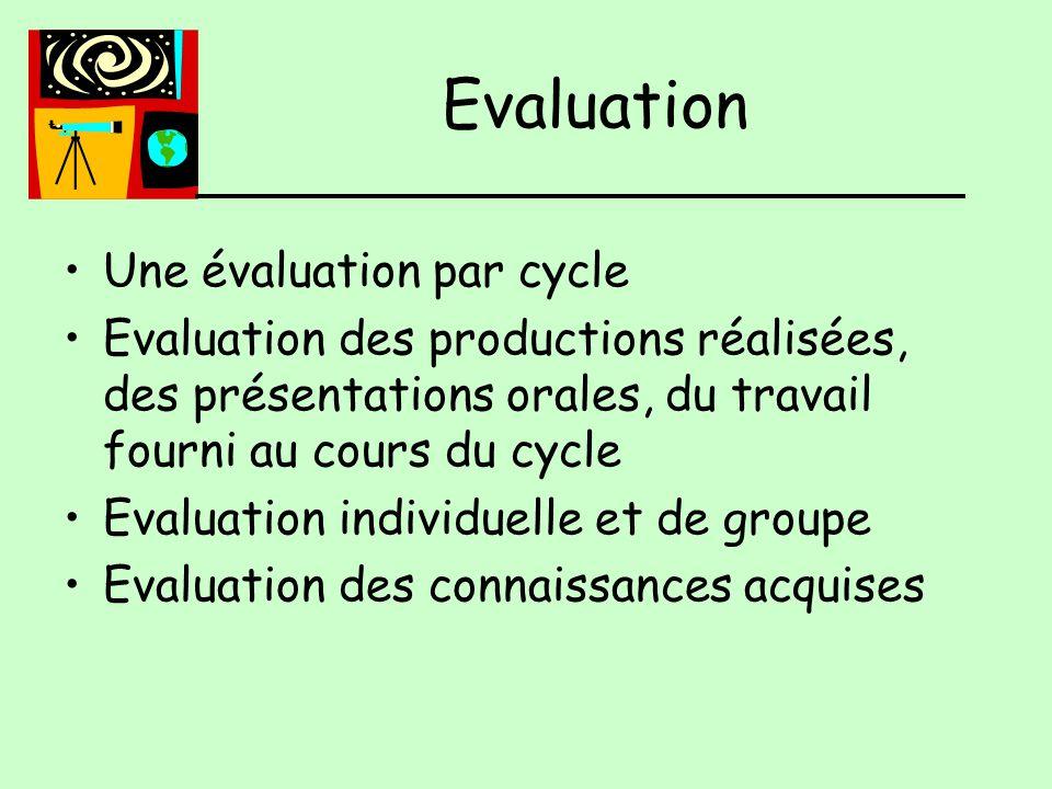 Une évaluation par cycle Evaluation des productions réalisées, des présentations orales, du travail fourni au cours du cycle Evaluation individuelle et de groupe Evaluation des connaissances acquises Evaluation