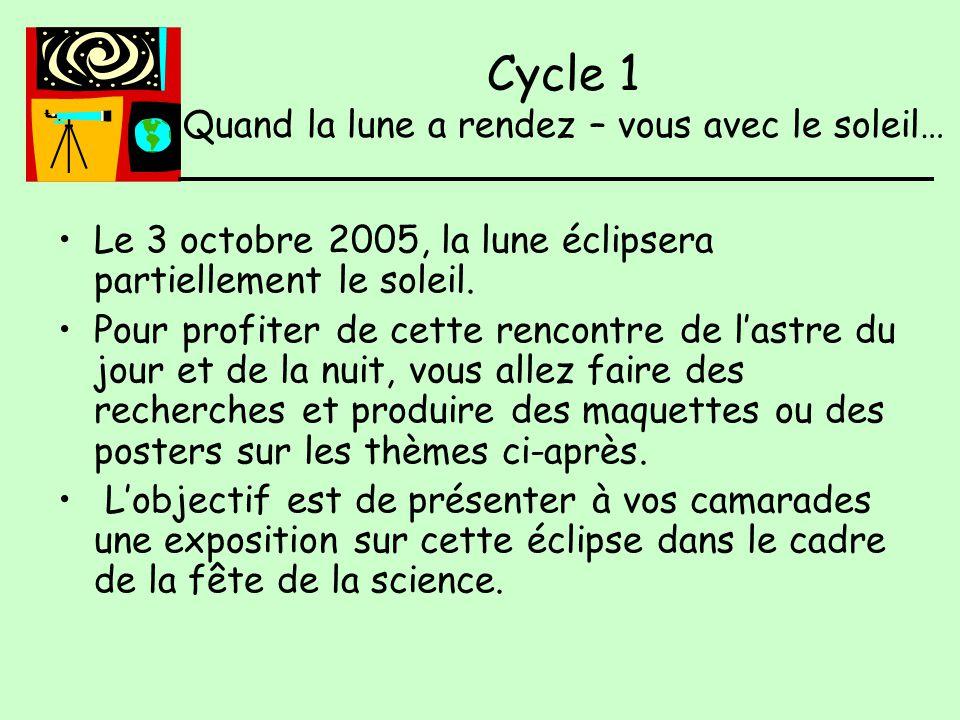 Le 3 octobre 2005, la lune éclipsera partiellement le soleil.