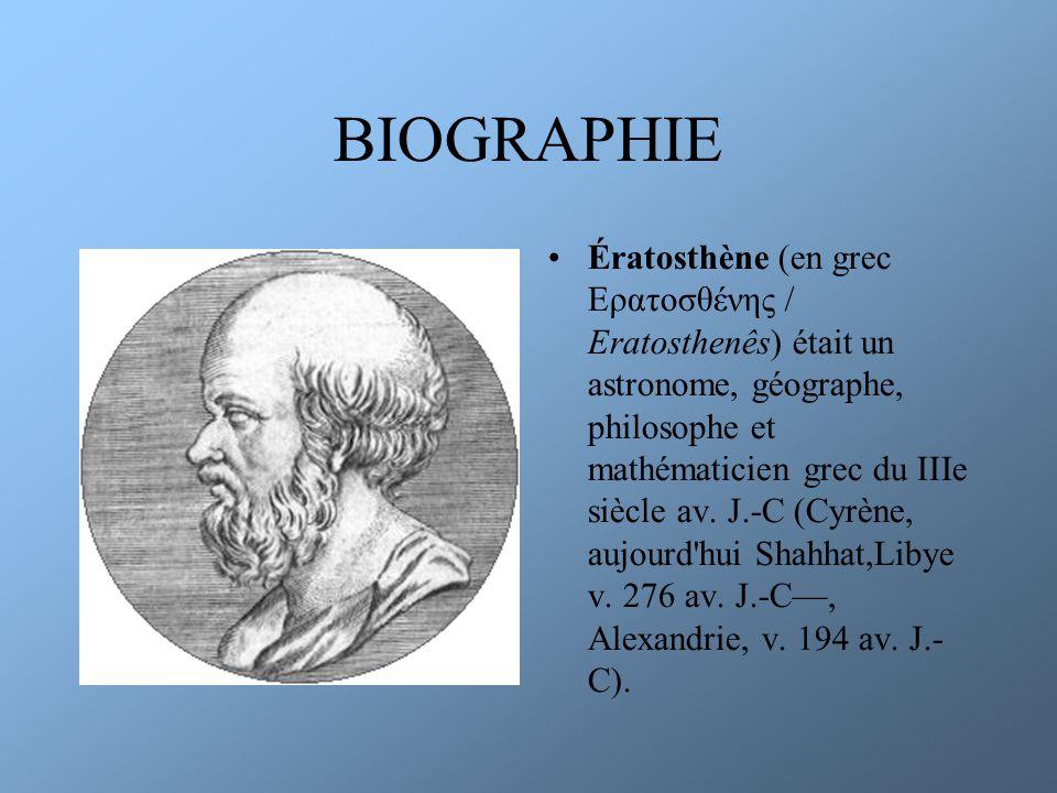 OEUVRES Il a été le premier à calculer le rayon de la Terre et sa circonférence en utilisant un gnomon Il a créé un crible pour calculer tous les nombres premiers ainsi que le mot géographie