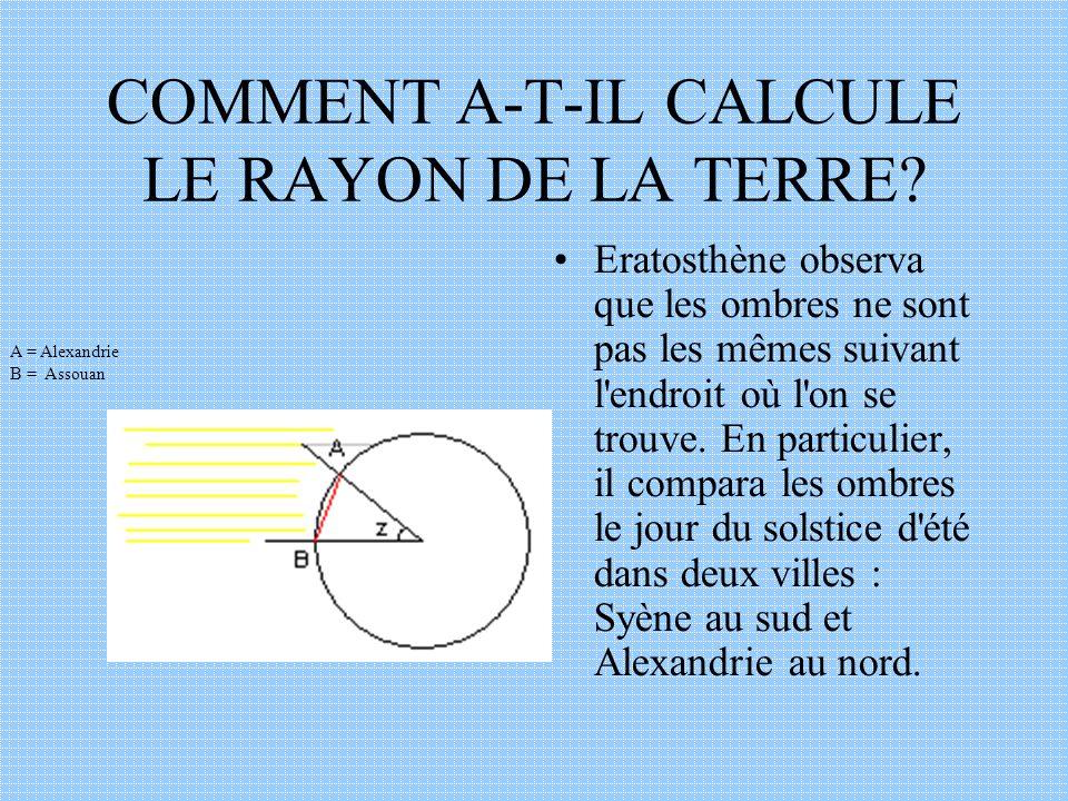 Alexandrie et Assouan (de son ancien nom Syène) sont à peu près sur le même méridien ( à 3° près).