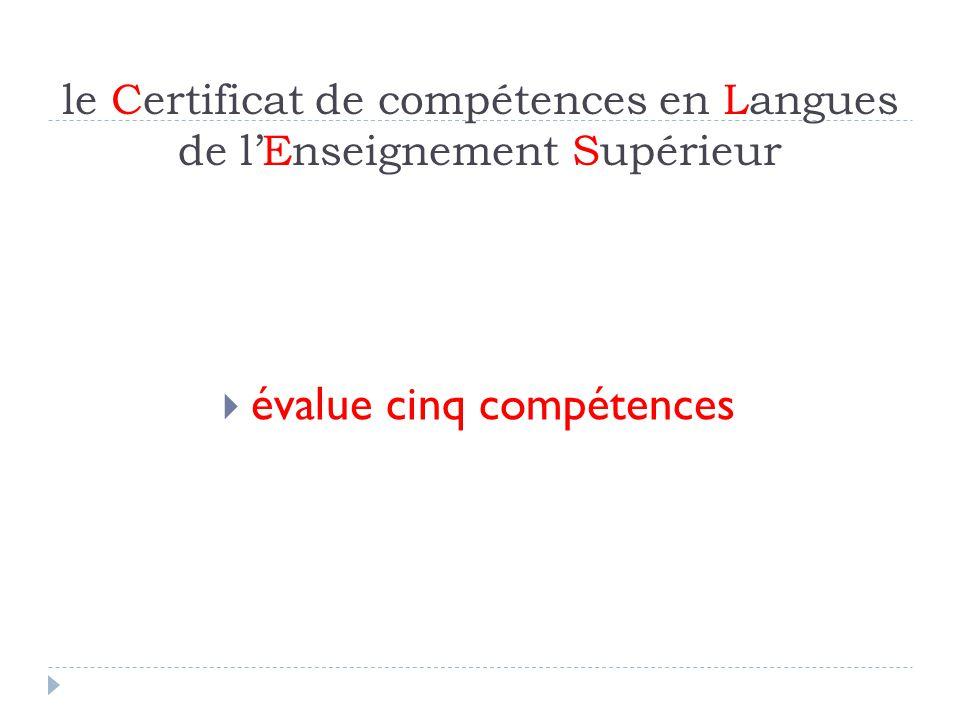 le Certificat de compétences en Langues de lEnseignement Supérieur Scénario de situation réaliste Compréhension de lécrit Compréhension de loral Production écrite Production orale Interaction orale