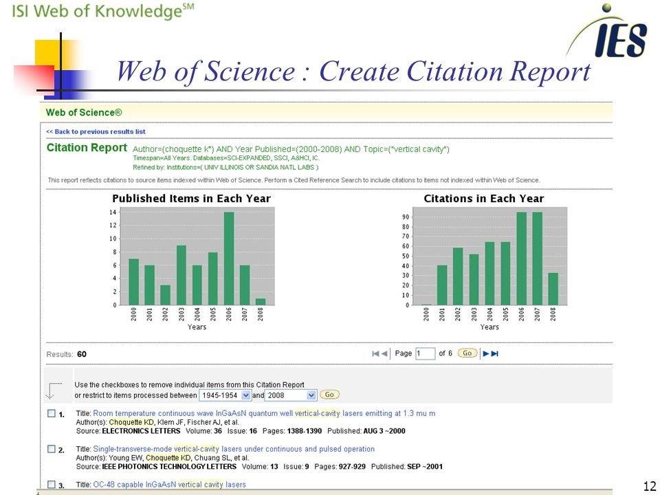 12 Web of Science : Create Citation Report