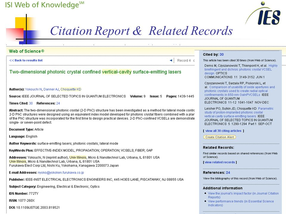 13 Citation Report & Related Records