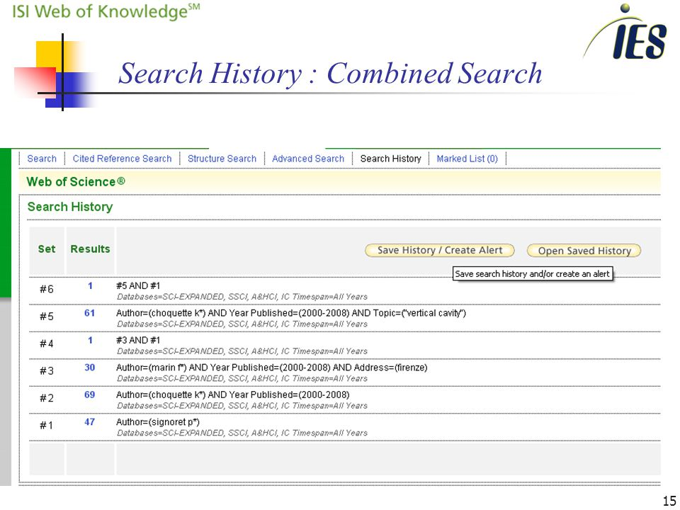15 Search History : Combined Search