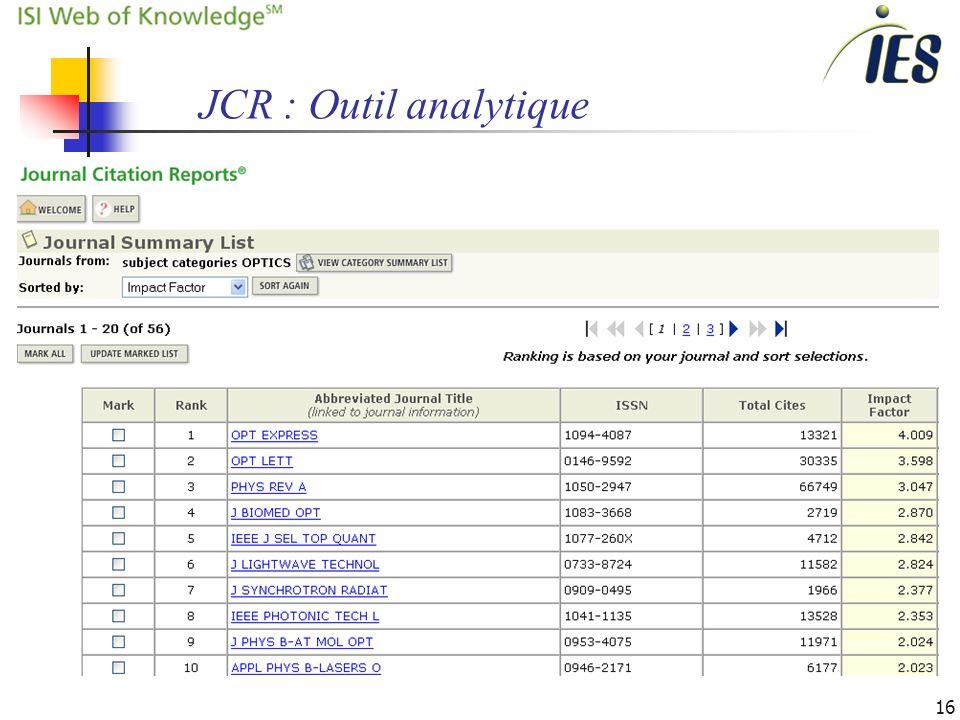 16 JCR : Outil analytique