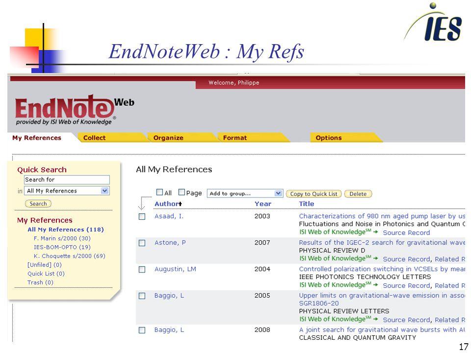 17 EndNoteWeb : My Refs
