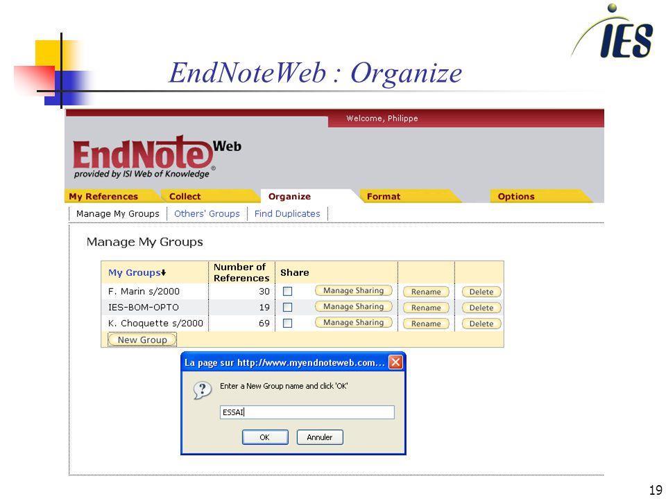 19 EndNoteWeb : Organize