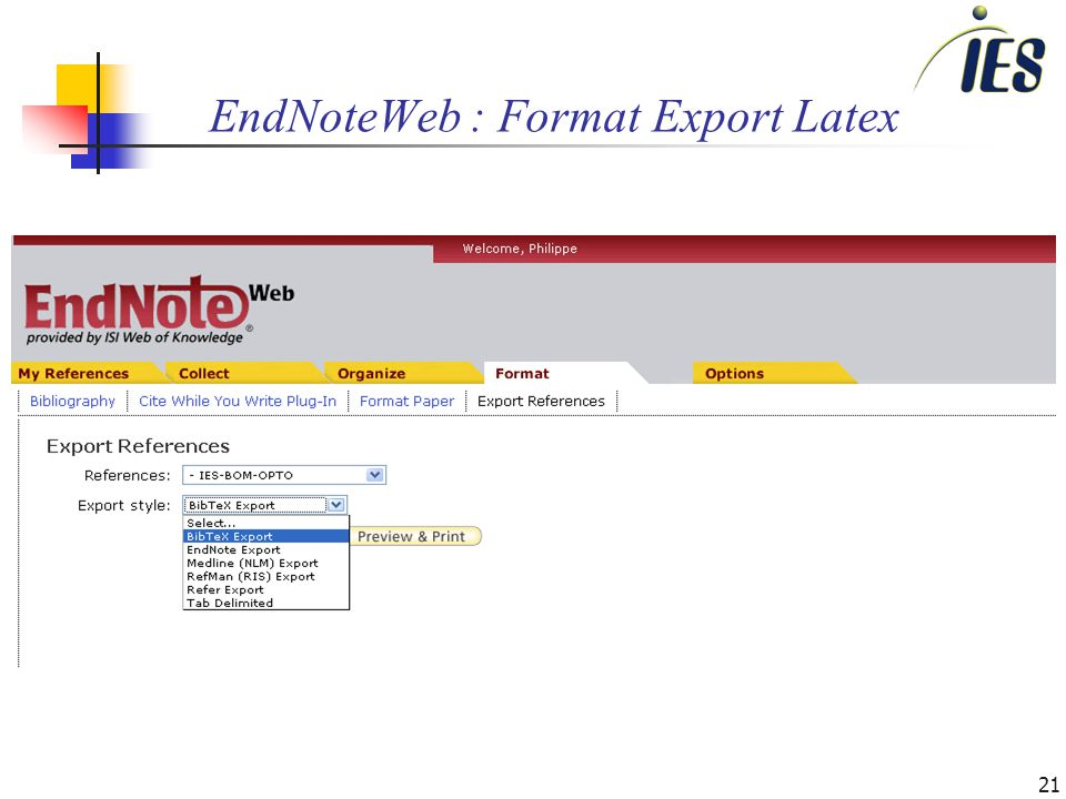 21 EndNoteWeb : Format Export Latex