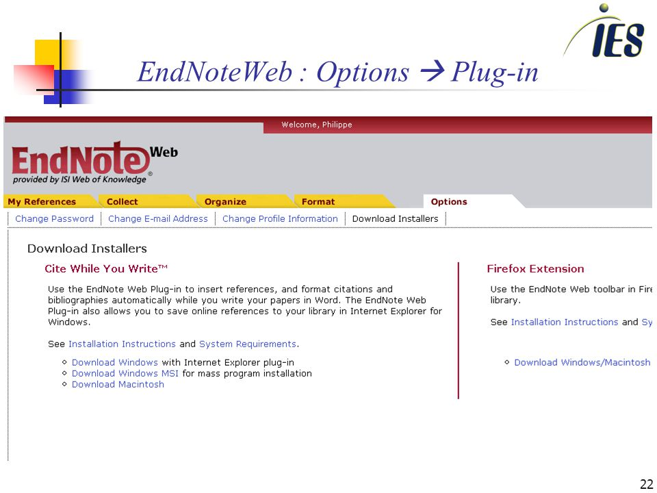 22 EndNoteWeb : Options Plug-in