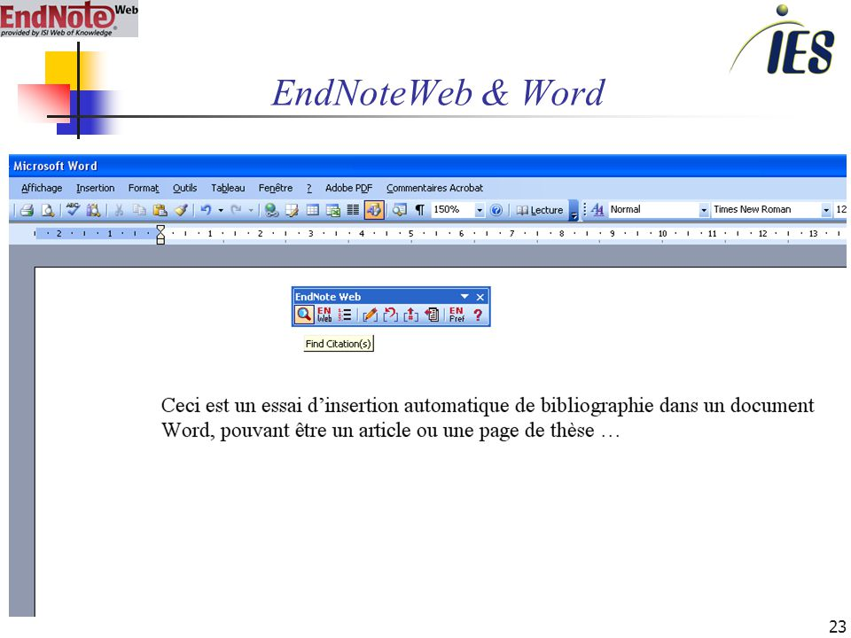 23 EndNoteWeb & Word