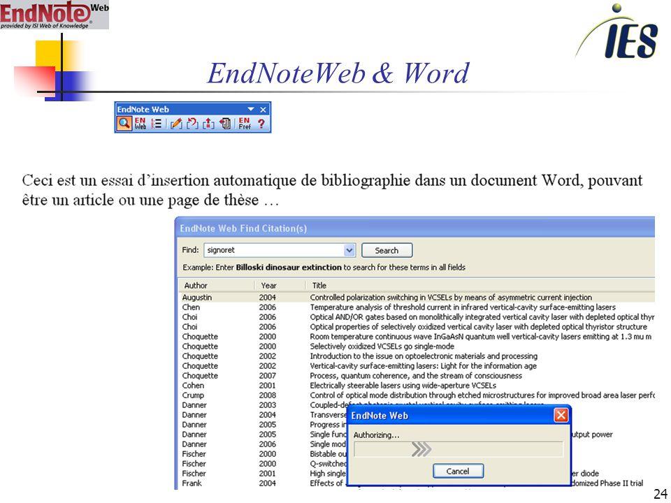 24 EndNoteWeb & Word