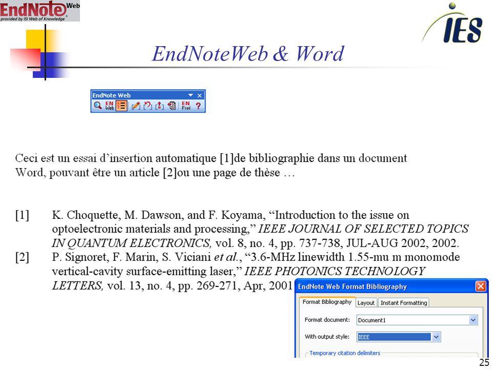 25 EndNoteWeb & Word