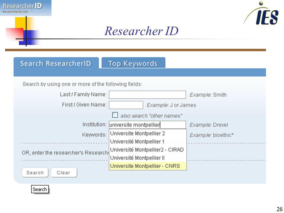 26 Researcher ID