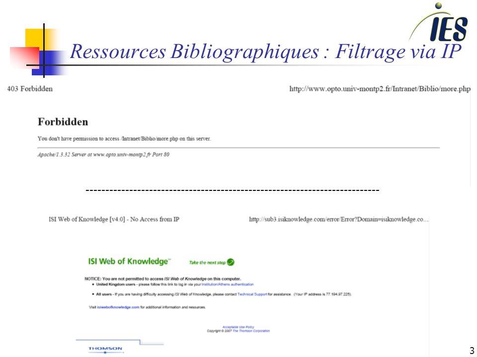 3 Ressources Bibliographiques : Filtrage via IP --------------------------------------------------------------------------