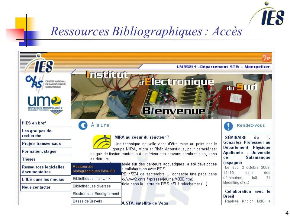 4 Ressources Bibliographiques : Accès