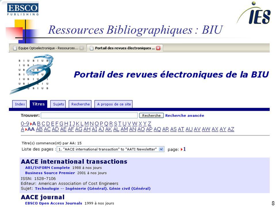 8 Ressources Bibliographiques : BIU