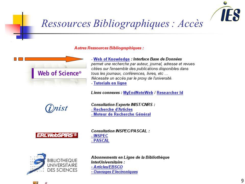 9 Ressources Bibliographiques : Accès